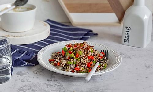 双椒紫菜烩高粱米#中式减脂餐#的做法