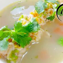 「回家面条」--海虾慕斯时蔬配冬季芝麻鱼烧饼老北京菜谱做法的高汤图片