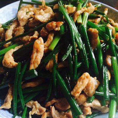 韭菜花炒肉丝(嫩滑)