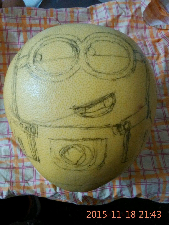 照着小可爱的样子在柚子上画出轮廓,差不多就行,画错了可以擦了重画