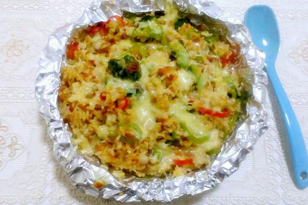 今天吃什么菜好昵-培根 芝士焗饭 蔬菜