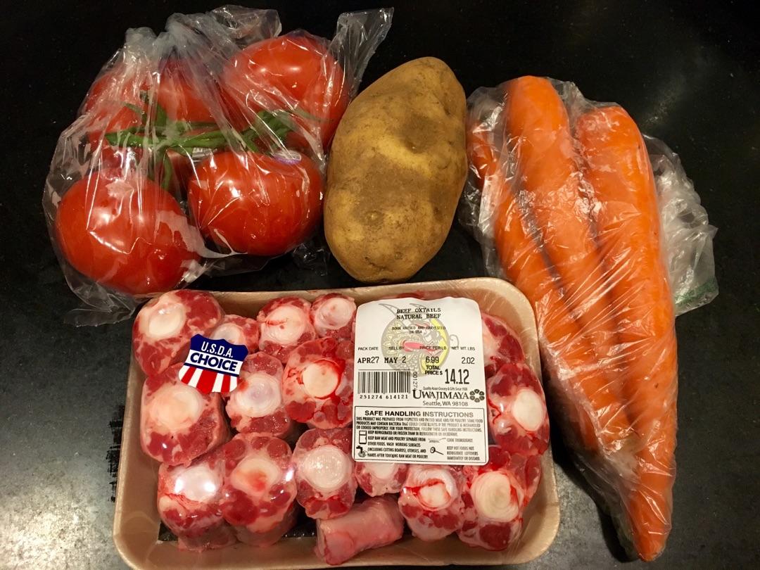 西红柿土豆胡萝卜两个骨汤的牛尾_做法_豆果菜谱人吃一斤鸡爪够吗图片