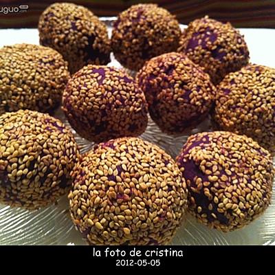 红豆沙紫薯球