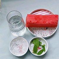 西瓜薄荷气泡冰饮#夏日冰品不能少#的做法图解1