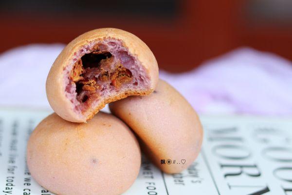 紫薯蜜豆麻薯包的做法
