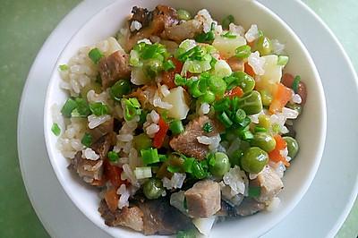 豌豆腊肉糯米饭