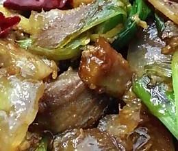 大蒜炒熏肉的做法