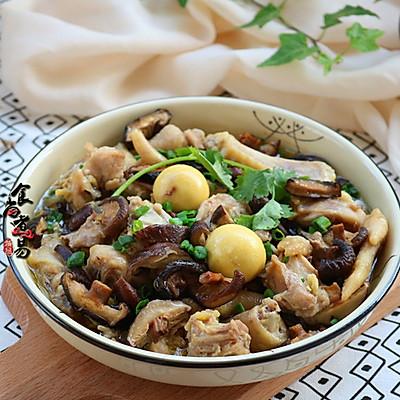 姜葱冬菇蒸滑鸡