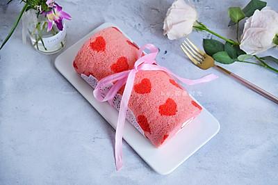 粉粉爱心蛋糕卷