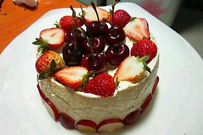 6寸水果蛋糕【君之配方8寸烫面戚风蛋糕】
