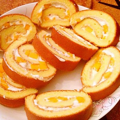 芒果瑞士卷 芒果戚风蛋糕卷(10寸方烤盘)