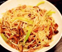 绿豆芽香菇炒肉丝的做法