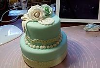 翻糖蒂芙尼婚礼蛋糕(双层)的做法