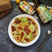 #太太乐鲜鸡汁玩转健康快手菜#腊味手撕包菜