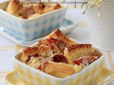 培根芝士焗面包布丁的做法