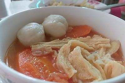 番茄腐竹汤面