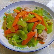 莴苣胡萝卜炒肉片