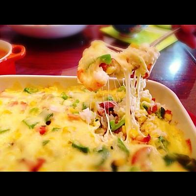 鸡肉鲜虾芝士焗饭