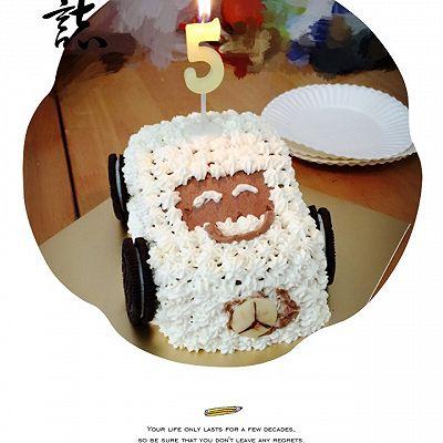 无色素版小汽车生日蛋糕
