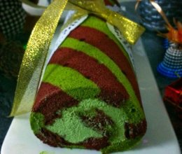 圣诞节vr.双色毛巾蛋糕卷#圣诞烘趴 为爱起烘#的做法