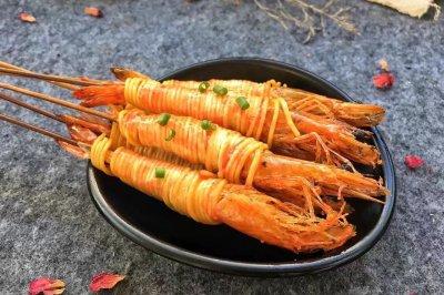 茄汁金丝虾串