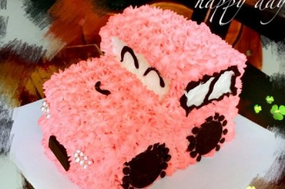 汽车蛋糕(六寸 可可戚风蛋糕+自制酸甜苹果馅