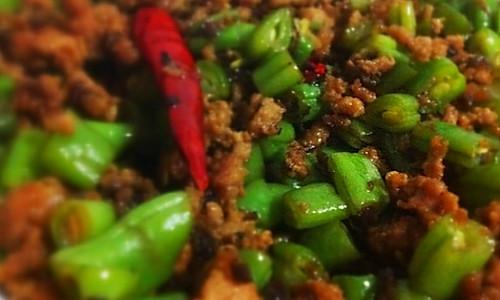 碎肉干煸豆角段的做法