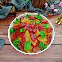 #下饭红烧菜#土豆片炒腊肠的做法图解16