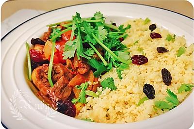 摩洛哥鸡肉盖浇couscous库斯库斯