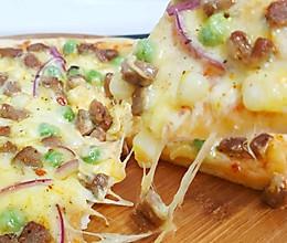 黑胡椒肉丁披萨(自制披萨饼底)的做法