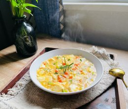 #福气年夜菜#咸鲜可口的咸蛋黄豆腐羹的做法