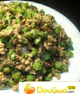 榄菜肉松四季豆的做法