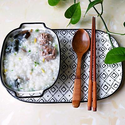 牛肉丸皮蛋粥——剩粥这样做真的很美味