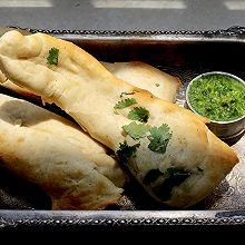 印度馕饼(砂锅馕坑)配香菜青酱Naan•夏天乡野滋味(六)