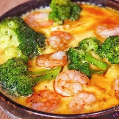 西兰花虾仁豆腐蒸蛋