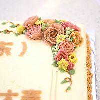 大号方形庆典蛋糕淡奶油抹面裱花的做法图解13