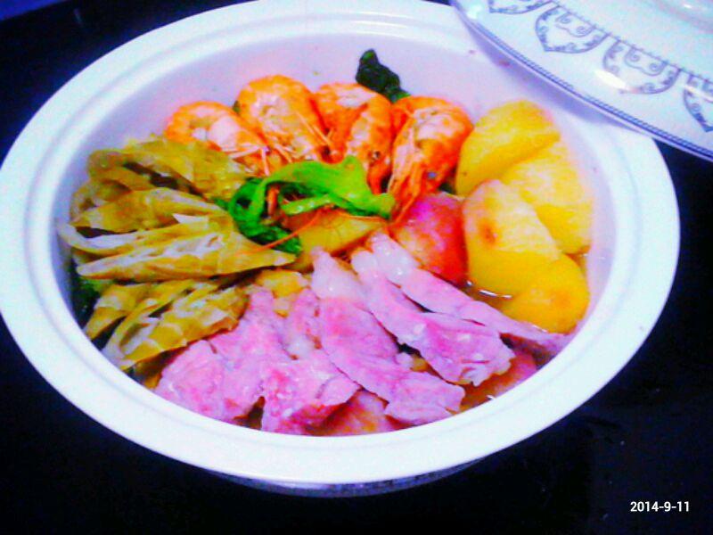 鲜虾咸肉蒸蔬菜的做法图解6