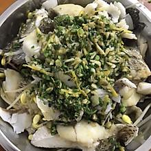 葱油淋海鲈鱼