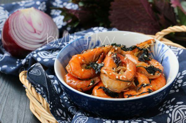 下酒菜椒盐紫苏虾的做法