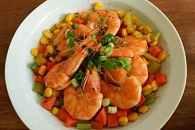健身餐 杂蔬煎虾