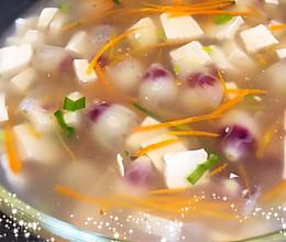 木槿花藕粉豆腐汤的做法