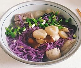 松茸牛髓紫薯面的做法