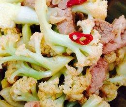 有机菜花炒肉的做法