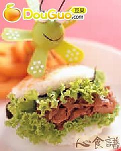 姜汁炒肉米堡的做法