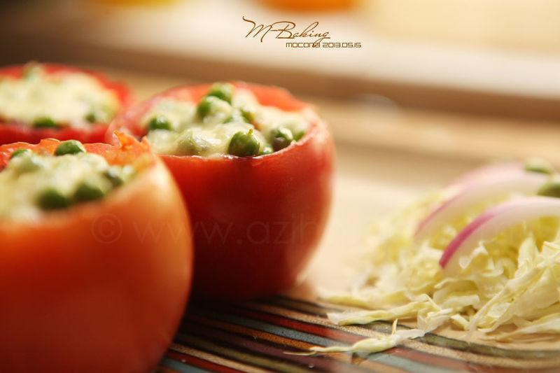 西红柿焗青豌豆