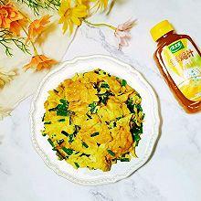 家常快手菜韭菜苔煎鸡蛋~太太乐鲜鸡汁蒸鸡原汤
