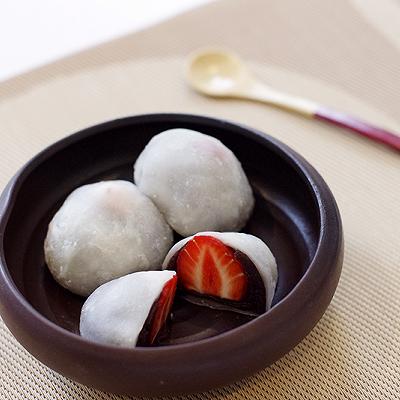 草莓红豆大福饼