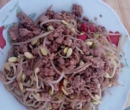 黄豆芽炒肉末的做法