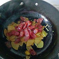 #下饭红烧菜#土豆片炒腊肠的做法图解14