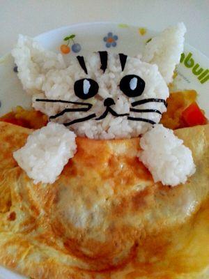 手绘猫咪美食图片